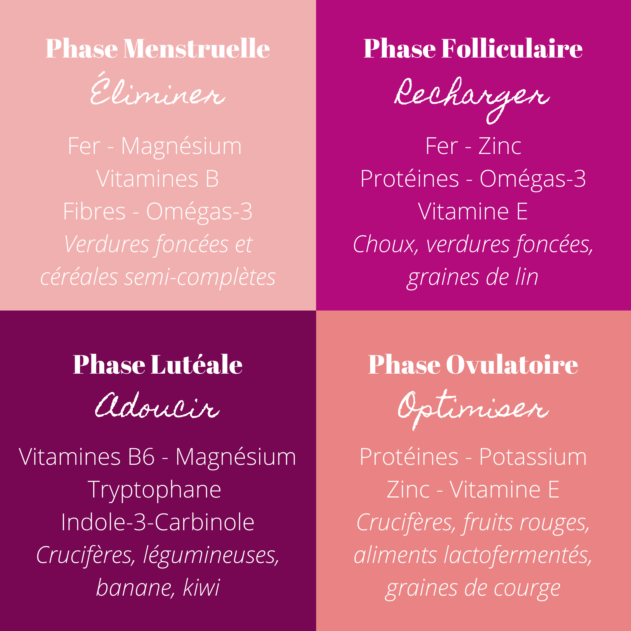 Alimentation et cycle menstruel, phase par phase